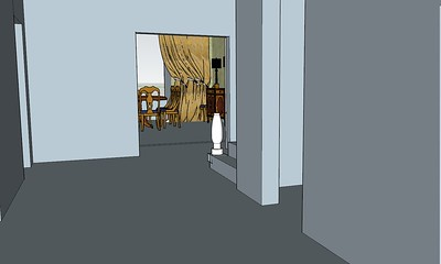 perspective from entry to new dining room double doors