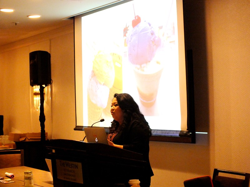 "San Francisco State University Professor, Dawn Mabalon chaired  ""The Filipino American Food Movement in the S.F. Bay Area"" roundtable and included several local FilAm chefs and tasty samples of their work, including Mabalon's own Ube cupcakes."
