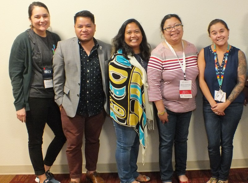 Filipino American Librarians gather at JCLC closing before going back to their respective libraries (L-R) Lessa Kanani'opua Pelayo-Lozada (Palos Verdes Public, CA), Paolo P. Gujilde ( National Louis University - Chicago), Jade Alburo (UCLA), Melissa Cardenas-Dow (Cal State Univ. Sacramento), and Mrs. Kacie Thompson (Nisqually Indian Tribe)