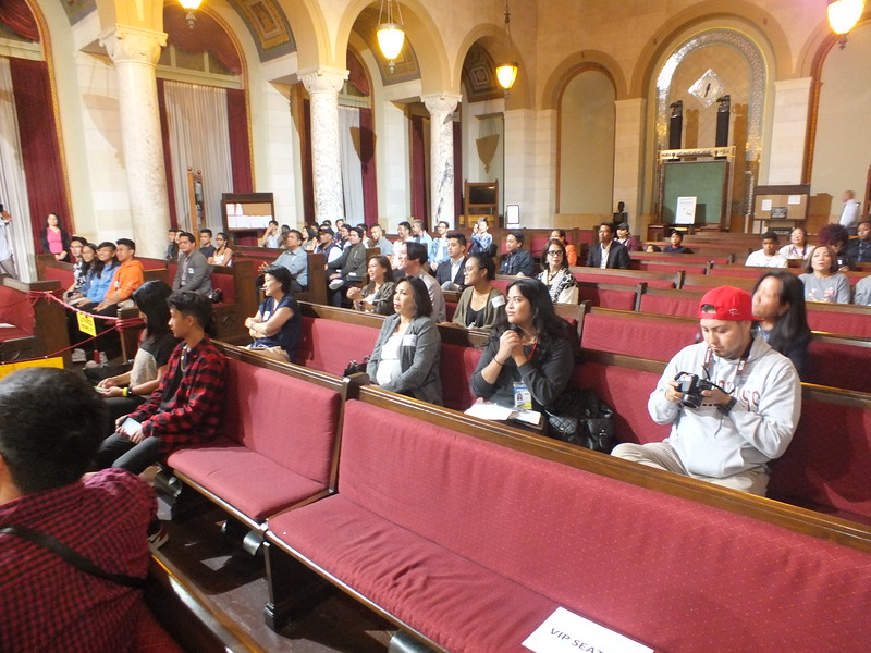 Filipino American Angelenos listen attentively at  FilAm Game Changers  event held at the Los Angeles City Hall Council Chambers last October 25th. The successful outreach efforts were largely attributed to Councilmember Gil Cedillo's newest intern, Natalie Ricasa Bagaporo, a recent UCLA Samahang Pilipino graduate and immediate past president.