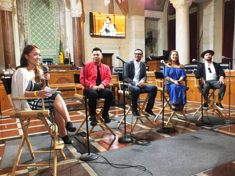 FilAm Game Changers speakers at LA City Hall (L-R) Maria-Karmina Landicho (LA Chargers digital content producer), AJ Rafael (Youtube sensation), Ricky Nierva (Art director at PIXAR Studios), G Tongi (former host of TV Kababayan Today Show), PJ Butta (93.5 KDAY on-air host & DJ)
