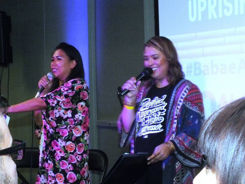 """Performing and Emceeing the """"Pinay Uprising"""" event were (L-R) Arianna Lady Basco, of the Basco family of entertainers,  and """"G"""" Giselle Tongi, former local TV host of Kababayan Today."""