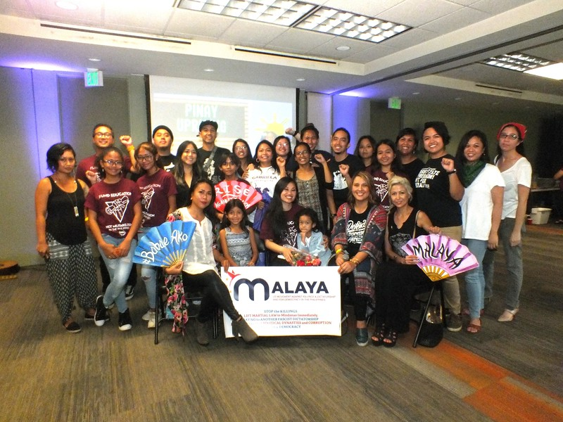 Malaya Movement volunteers join the artists and organizers and their children  (L-R front seated) Arianna Lady Basco, Ruby Ibarra, G Gisele Tongi and Minerva Benedicto Vier.