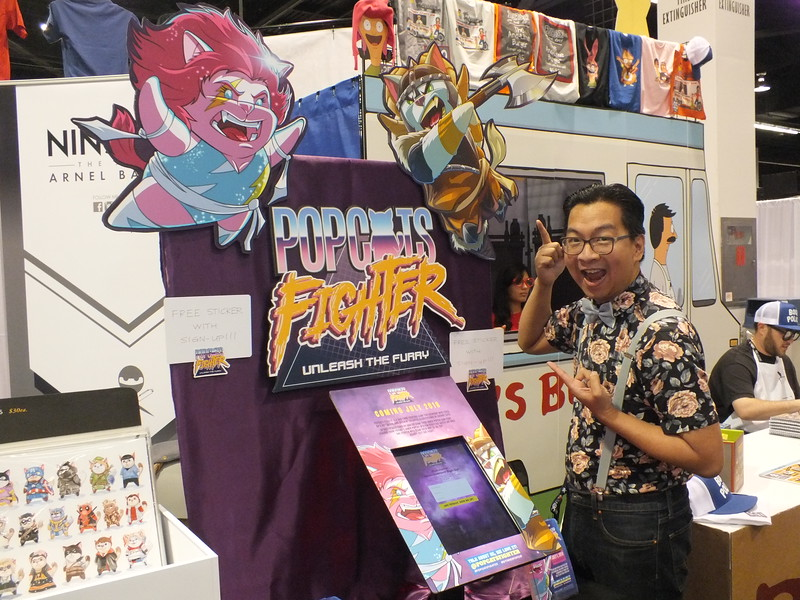 NijaBot creator Arnel Baylot just launched his new PopCats Fighter Card Game at Seattle's Emerald Con early last March and will start his kickstarter campaign soon after his Wonder Con promotion seen here.