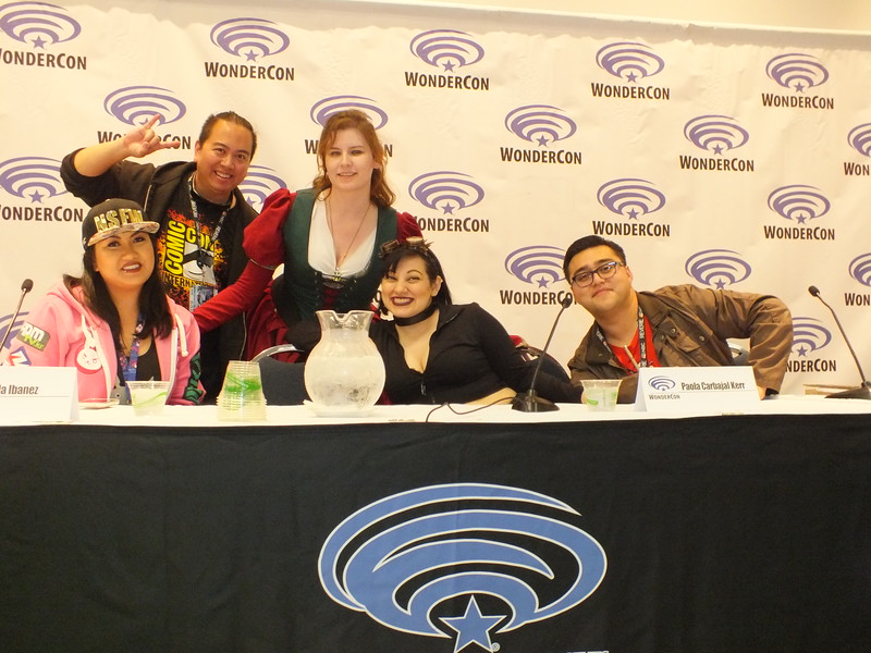 "The WonderCon Panel "" How to be a Geek in the Workplace"" featured two Filipinos (l-r) Mikaela Ibanez, Ryan Tumaliuan, and other panelists, Joy Marie Menzel (organizer), Paola Carbajal Kerr, and Jose E. Carenas. All career professionals by day and GEEKS in there time off."