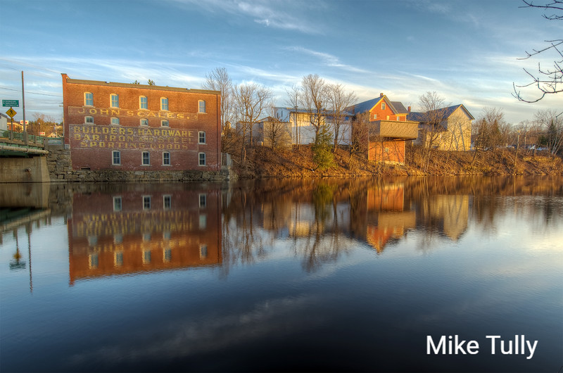 Quiet evening along the Piscataquis River in Guilford, Maine