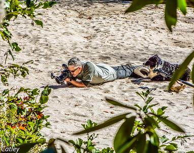 Kefyn and Bron shooting tiger beetles at Panthertown, NC.
