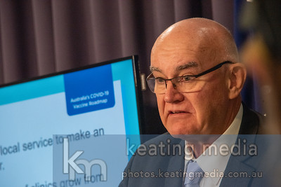 """Canberra, Australia - 17 March 2021: Adjunct Professor John Skerritt is the Deputy Secretary, Health Products Regulation Group and head of the Therapeutic Goods Administration talks about a clotting issue with the AstraZenea vaccine. """"At this stage, we don't believe that there's conclusive evidence of cause and effect with the clotting issue"""", he said. Photo by Rob Keating (https://photos.keatingmedia.com.au)."""