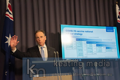 Canberra, Australia - 17 March 2021: Health Minister Greg Hunt outlines the latest COVID-19 vaccine national roll-out strategy. Photo by Rob Keating (https://photos.keatingmedia.com.au).