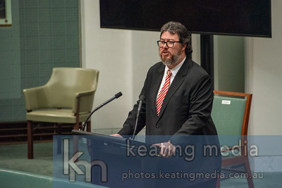 """Canberra, Australia - 17 March 2021: Member for Dawson George Christensen during Member Statements. He said, """"There's a place in southern Townsville. Its name is Wulguru. Every time it rains up there, the homes fill up with poo."""" Photo by Rob Keating (https://photos.keatingmedia.com.au)."""