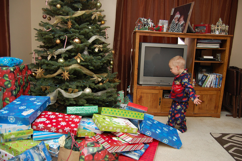 Ben checking out his presents.