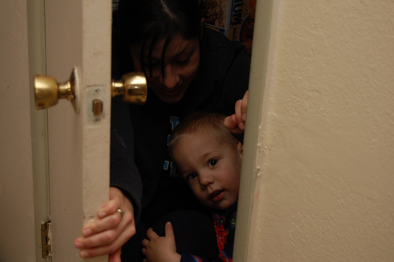 Kayna and Ben in the closet.