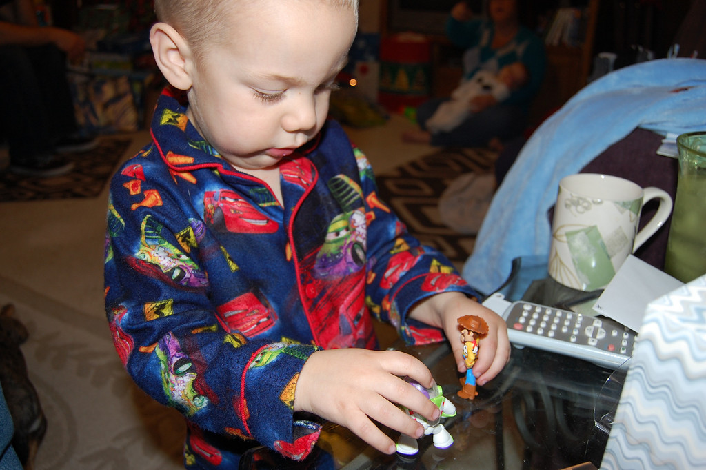 Ben playing with Woody and Buzz.