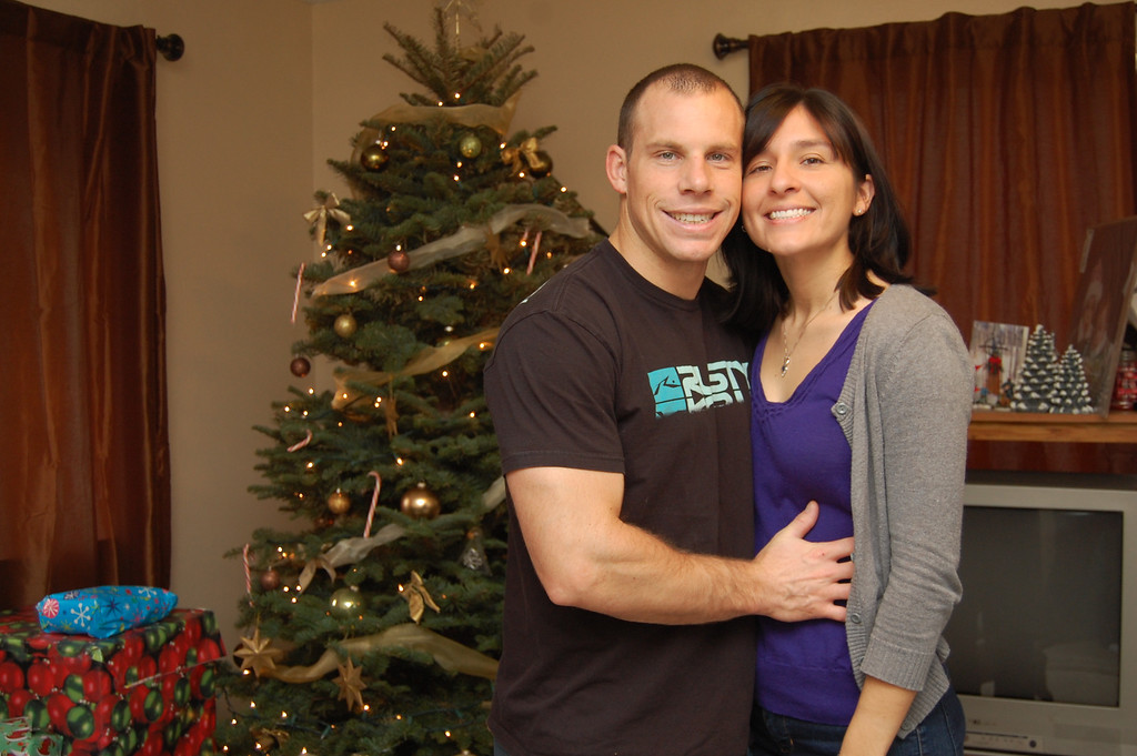 Aaron and I in front of the Christmas tree.
