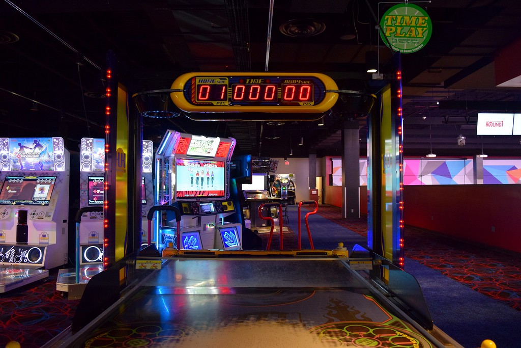 . Inside the new 60,000 square-foot Round 1 Bowling and Amusement complex featuring over 250 arcade games, billiards, darts karaoke and more in District 5 at Great Lakes Crossing Outlets in Auburn Hills