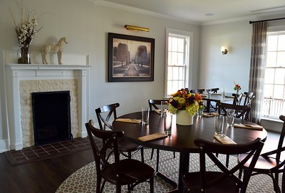 A Round Table In The Center Of One Upstairs Dining Rooms At Chapman