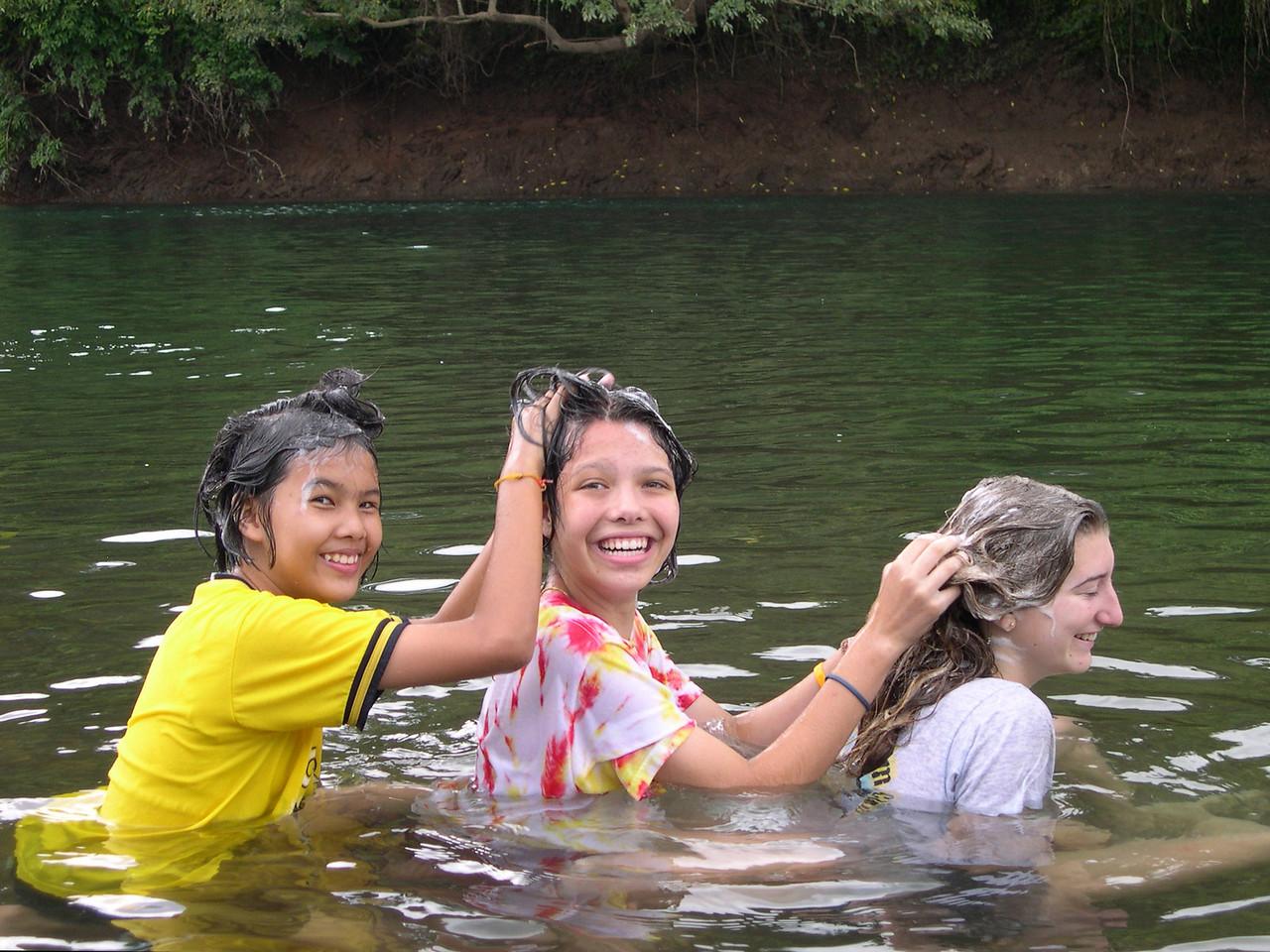 Hair wash in the Nan River in Pah Leurat