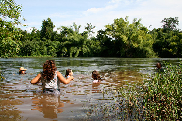 Swimming in the Nan River in Pah Leurat