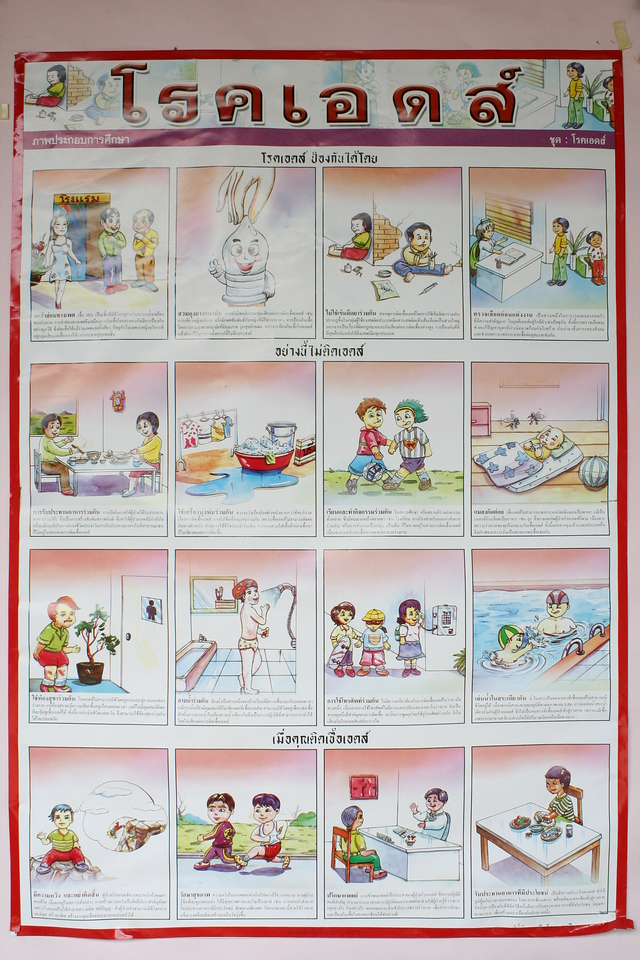 AIDS poster describing basics of prevention and care, and calming fears of casual contact with infected persons