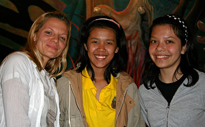 Kristi, Nam Whan, and Benyapa at Casa de la Raza