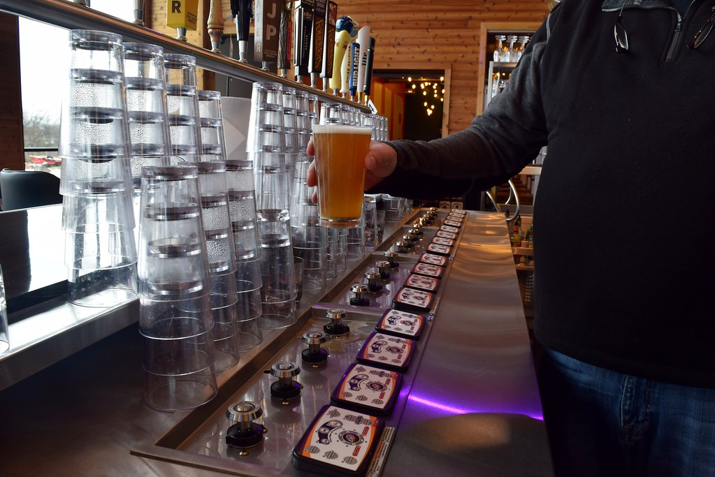 . A �bottom�s up� beer tap which fills the glass from the magnetic bottom inside The HUB Stadium at 2550 Takata Drive in Auburn Hills on Wednesday, Jan. 4, 2017.