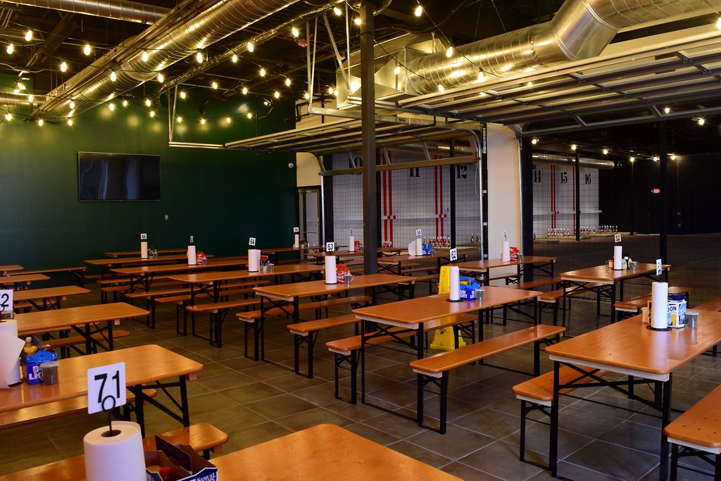 . The BRUHUB biergarten inside The HUB Stadium at 2550 Takata Drive in Auburn Hills on Wednesday, Jan. 4, 2017.