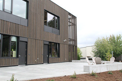The exterior of our new Lower School, designed by Hacker Architects and built by Skanska.