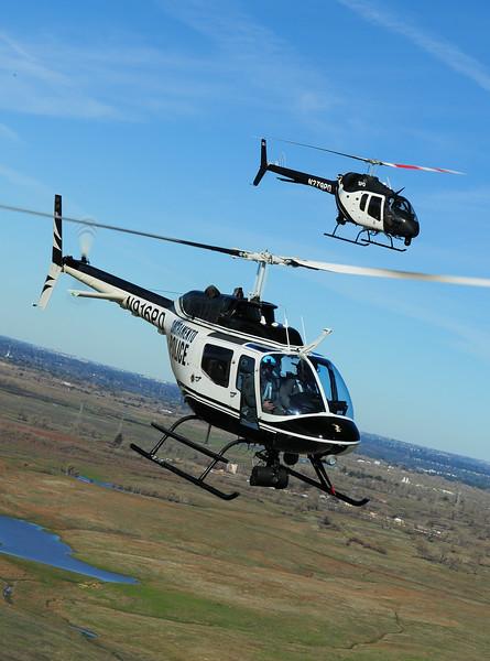 Skip Robinson, 505 Jet Ranger X with OH-58A Kiowa, Sacramento Police