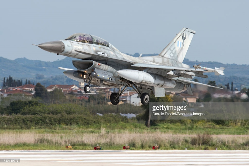 Hellenic Air Force F-16D Block 50 landing at Andravida Air Base, Greece, during the international Exercise Iniohos 2017.