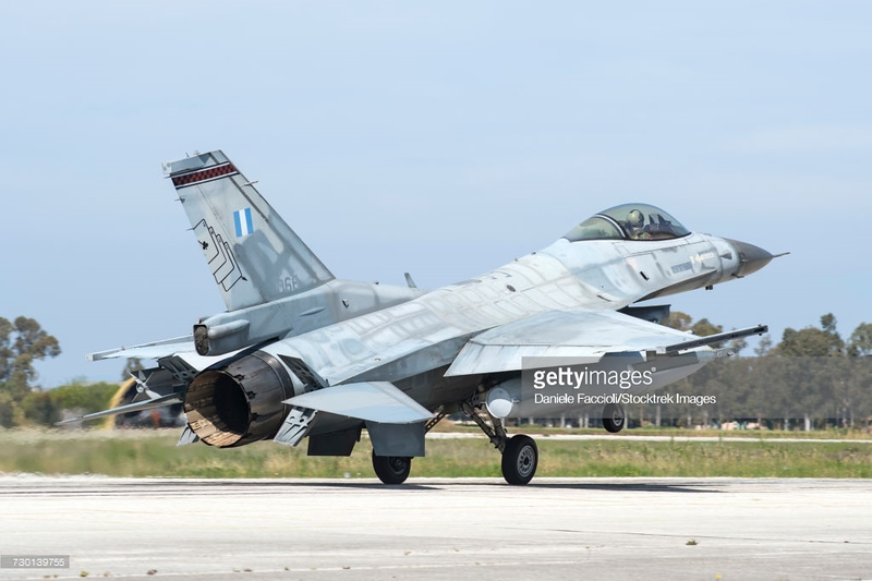 Hellenic Air Force F-16C Block 52 landing at Andravida Air Base, Greece, during the international Exercise Iniohos 2017.