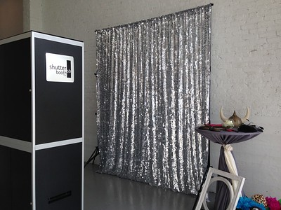 Open Style Booth with Silver sparkle backdrop