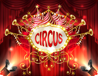 Vector banner with circus signboard and curtains