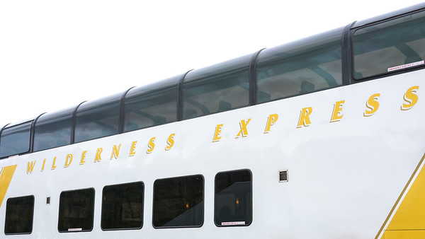 Wilderness Express leaving Denali station.  Alaska Railroad, Alaska