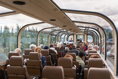 Wilderness Express leaving Denali station.  Double decker - observation deck above (with our own bar), dining car below.  Alaska Railroad, Alaska