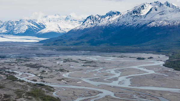 Outbound from Lake Hood  The glaciers of the Chugach Range empty into valleys of glacial silt.  Anchorage, Alaska
