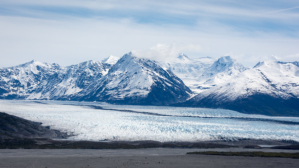 Glacial ice empties into Knik Arm.  Anchorage, Alaska