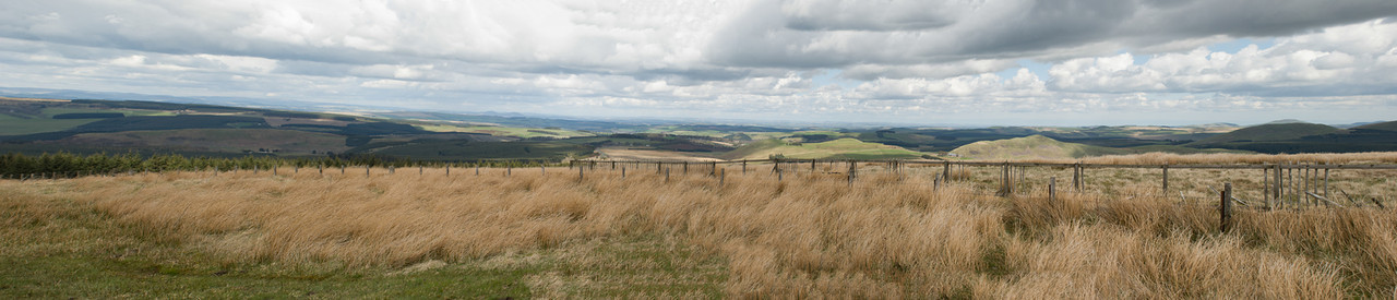 Scotish Lowlands Panorama  View to the north from the border of Scotland and England