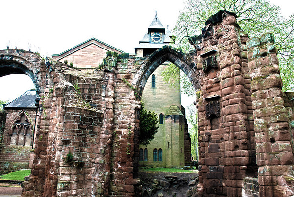 St John the Baptist's Church, Chester  Outside the church to the east are ruined remains including parts of former chapels.