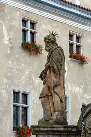Plague Column in Svornosti Square  Cesky Krumlov Czech Republic