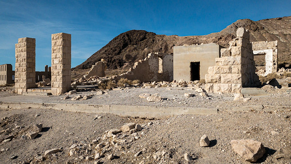 Rhyolite Ghost Town, Nevada  Abandoned gold mining town site.