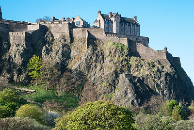 Edinburgh Castle  The formidable Western Defences viewed from West Princes Street Gardens.