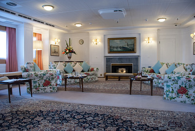 Royal Yacht Britannia  State Drawing Room  Her Majesty's Yacht Britannia is the former Royal Yacht of the British monarch, Queen Elizabeth II.  She was commissioned in 1954, and decommissioned in 1997.