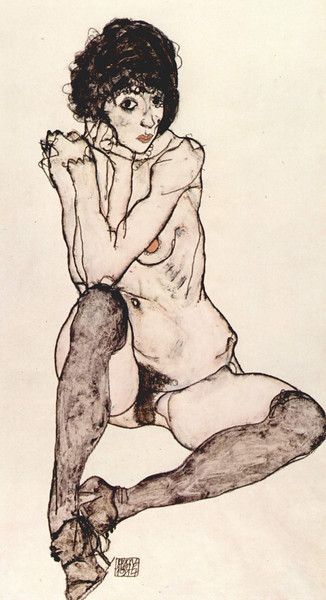 Seated Female Nude with Elbows Propped