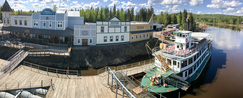 Sternwheeler Riverboat Discovery  Panorama of the Chena River waterfront.  Fairbanks, Alaska