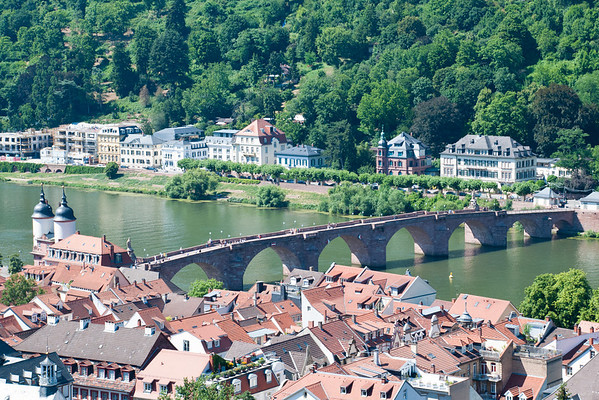 View of the Old Bridge over the River Neckar from Heidelberg Castle  Heidelberg, Germany