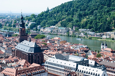 Church of the Holy Spirit, viewed from the terrace of Heidelberg Castle.  Heidelberg, Germany