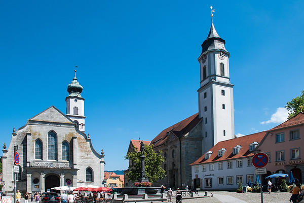 Church of St. Stephan (Stephanskirche) on the left.  St. Mary's Church on the right.  Lindau, Germany
