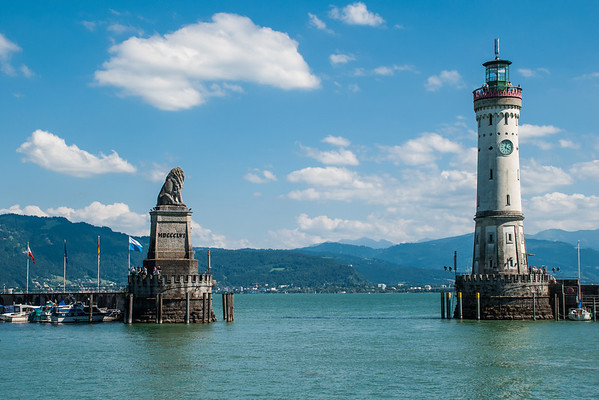 Harbour entrance on Lake Constance (Bodensee)  Lindau, Germany
