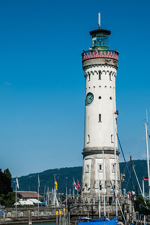 Lighthouse at the harbour entrance to Lindau on Lake Constance (Bodensee)  Lindau, Germany
