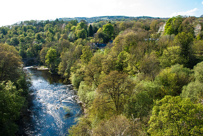Llangollen Canal  The Llangollen Canal is a navigable canal crossing the border between England and Wales.  The Pontcysyllte Aqueduct was built by Thomas Telford.  Opened in 1805, the aqueduct is more than 300 metres (980 ft) long and 38 metres (125 ft) above the valley floor.  It has nineteen stone arches, each with a forty-five foot span.